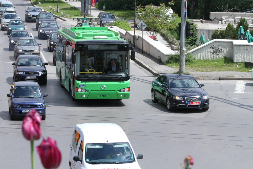 Chariot e-bus on the street of Sofia